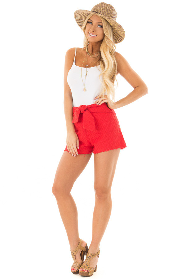 Poppy Red High Waisted Shorts with Waist Tie front full body