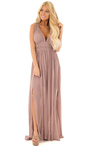 Dusty Lavender Maxi Dress with Cut Out Sides front full body