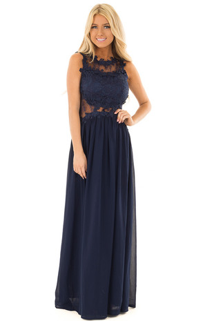 Navy Maxi Dress with Sheer Lace Neckline and Waist front full body