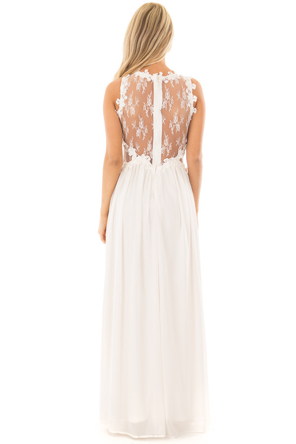 Ivory Maxi Dress with Sheer Lace Neckline and Waist back full body
