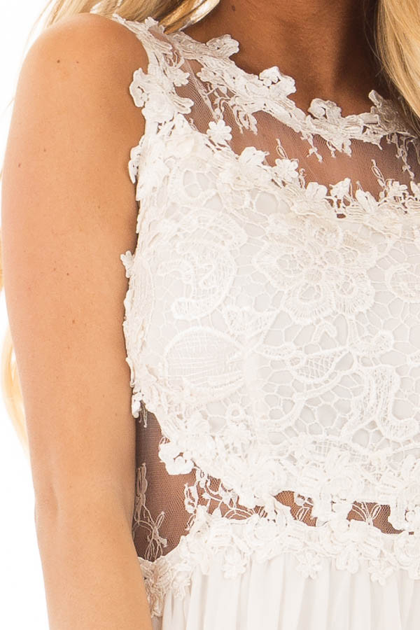 Ivory Maxi Dress with Sheer Lace Neckline and Waist detail
