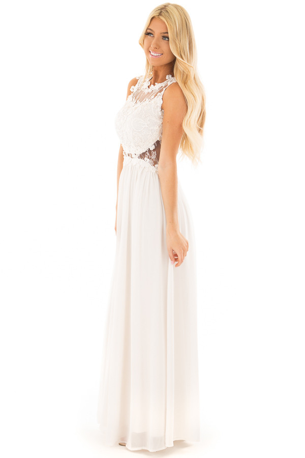 Ivory Maxi Dress with Sheer Lace Neckline and Waist side full body