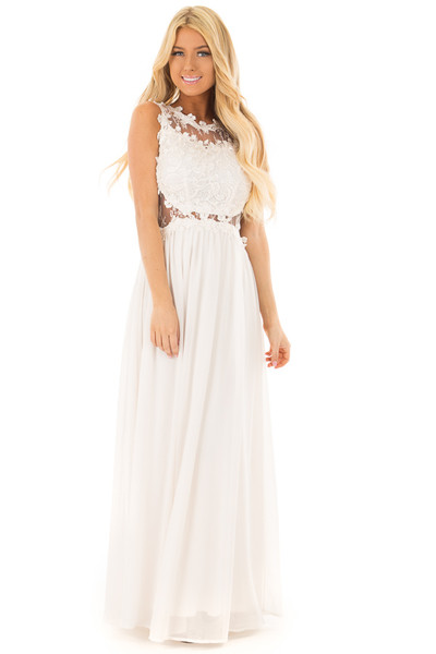 Ivory Maxi Dress with Sheer Lace Neckline and Waist front full body