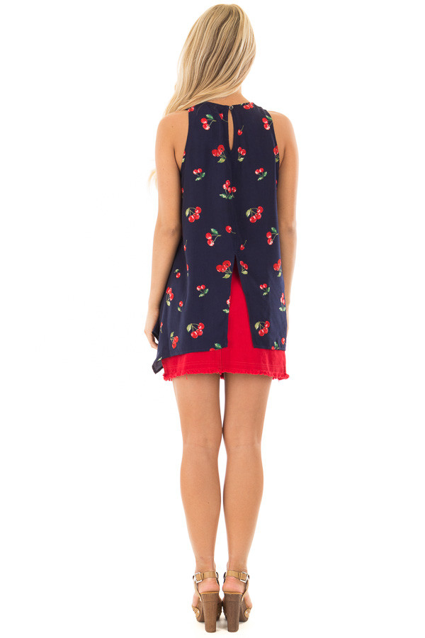 Navy Tank Blouse with Cherry Print and Keyhole Back back full body
