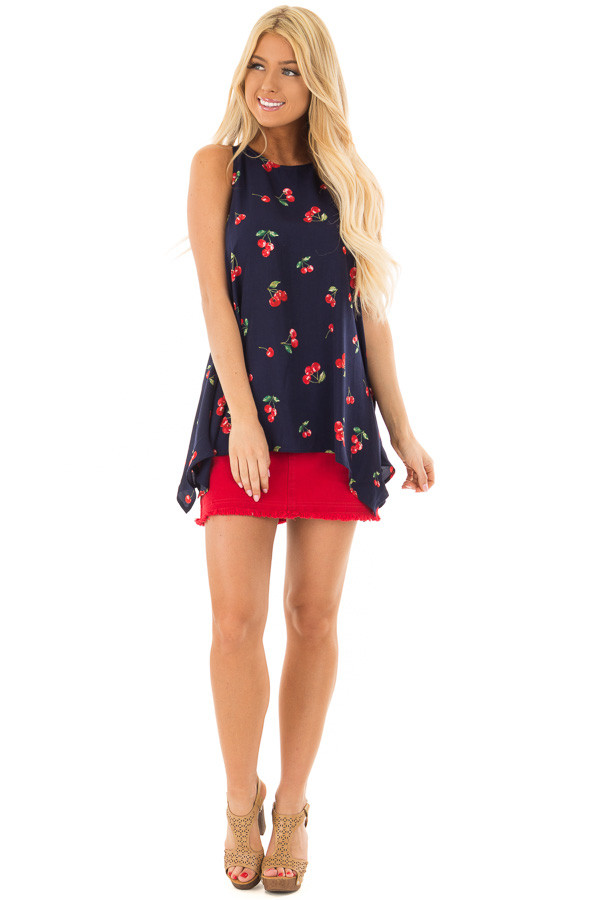 Navy Tank Blouse with Cherry Print and Keyhole Back front full body