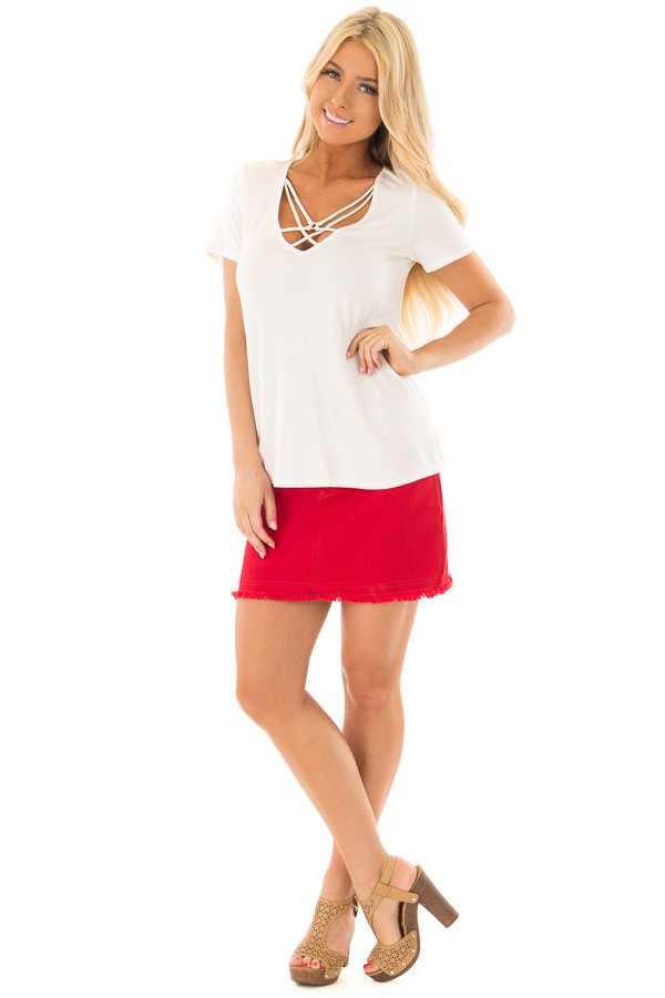 Ivory Short Sleeve Criss Cross Top with O Ring Detail front full body