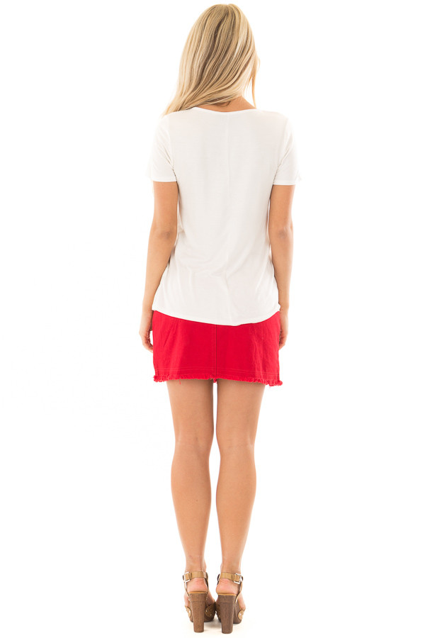 Ivory Short Sleeve Criss Cross Top with O Ring Detail back full body