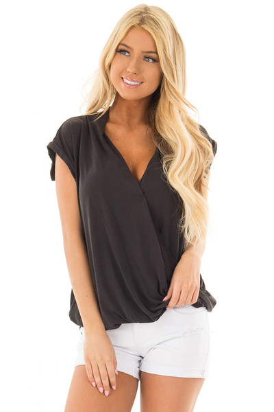 Black Surplice V Neck Top with Front Twist Detail front close up