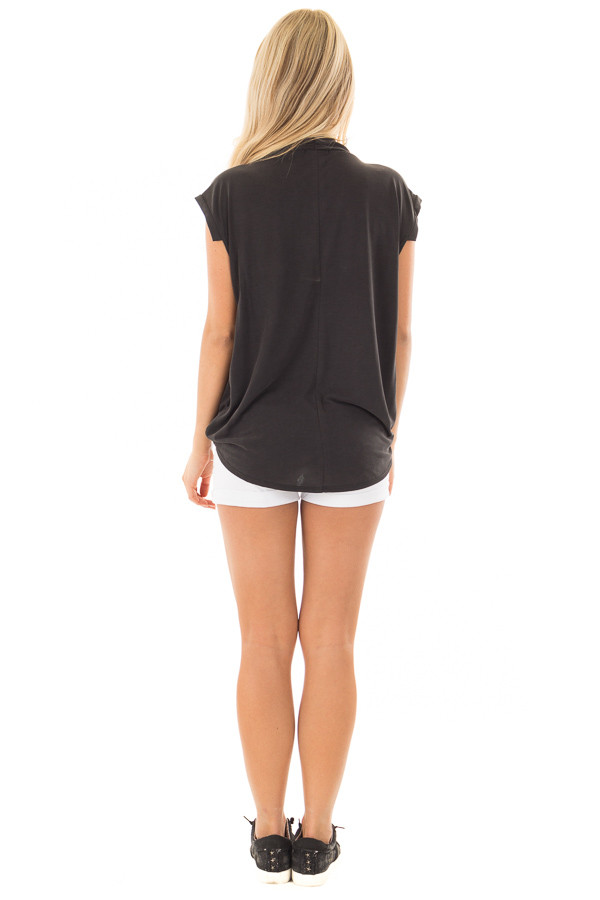 Black Surplice V Neck Top with Front Twist Detail back full body