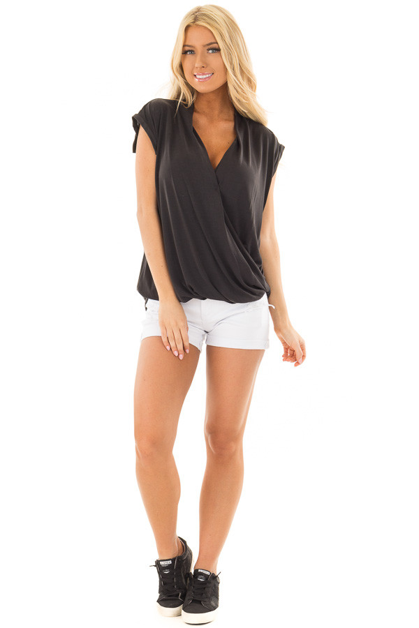Black Surplice V Neck Top with Front Twist Detail front full body
