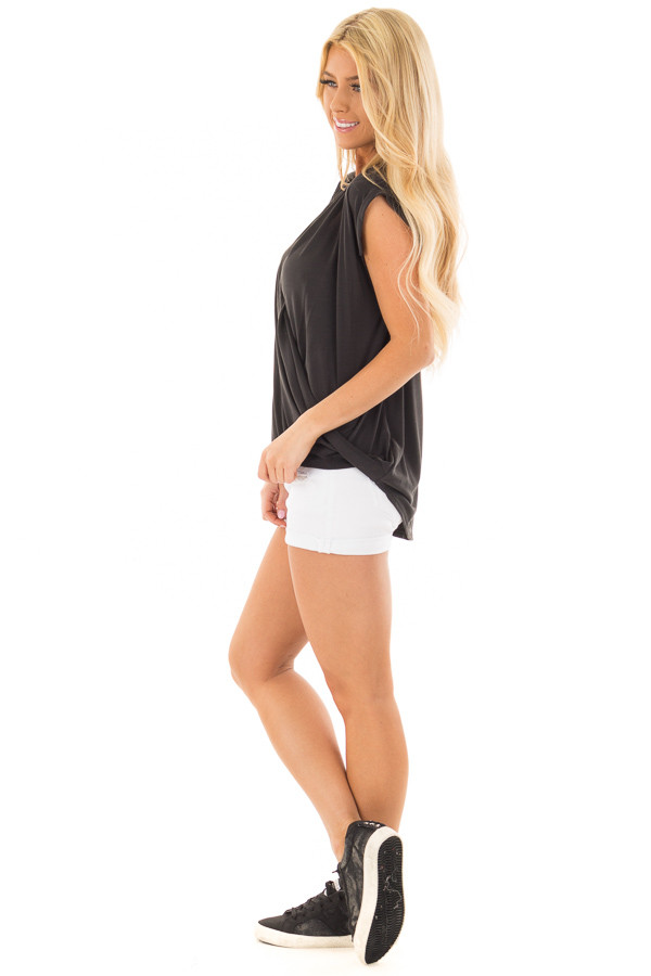 Black Surplice V Neck Top with Front Twist Detail side full body