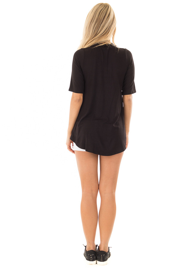 Black Short Sleeve Top with Chest Cutout back full body