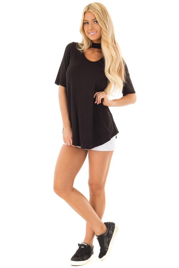 Black Short Sleeve Top with Chest Cutout front full body