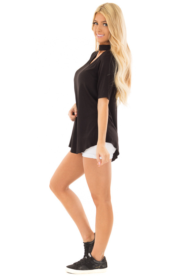 Black Short Sleeve Top with Chest Cutout side full body