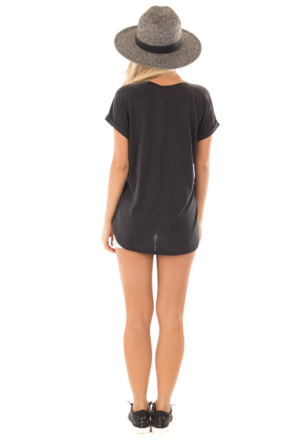 Black Short Sleeve Top with Front Pocket and Cuffed Sleeves back full body