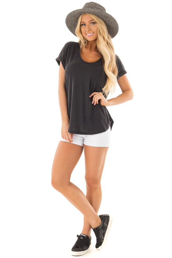 Black Short Sleeve Top with Front Pocket and Cuffed Sleeves front full body