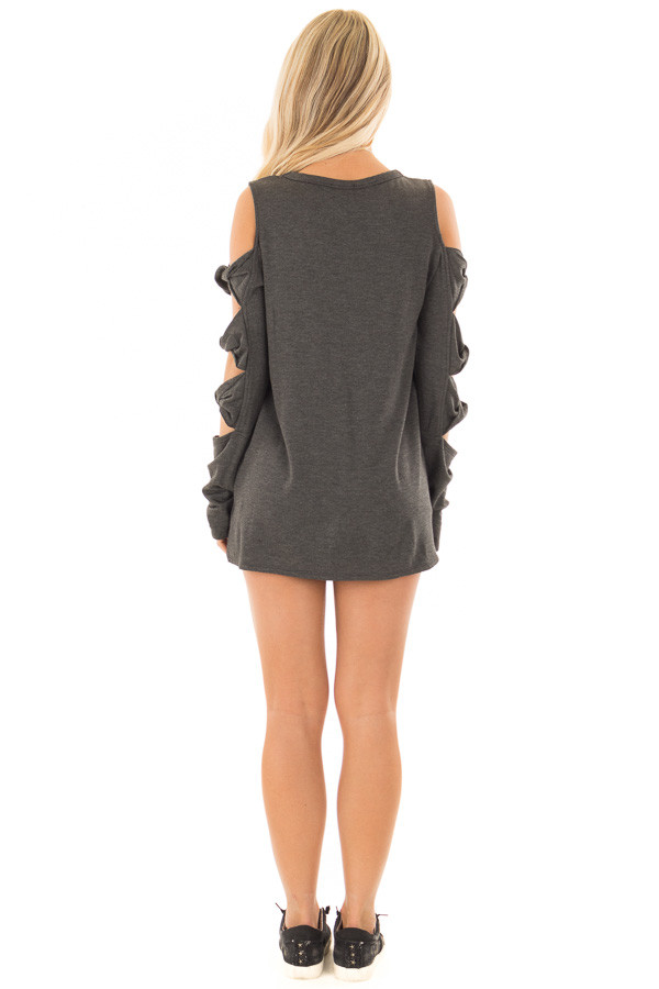 Charcoal Cold Shoulder Top with Twisted Ladder Sleeves back full body