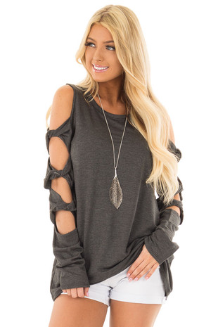 Charcoal Cold Shoulder Top with Twisted Ladder Sleeves front close up