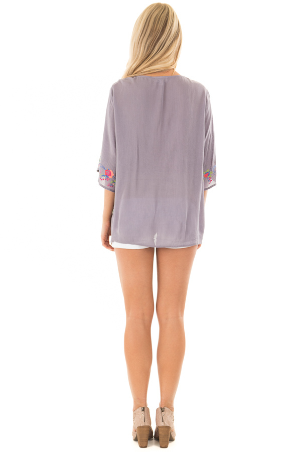 Deep Lavender Surplice Top with Embroidery Detail back full body