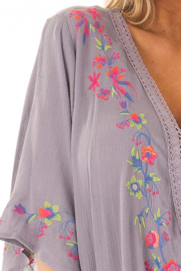 Deep Lavender Surplice Top with Embroidery Detail detail
