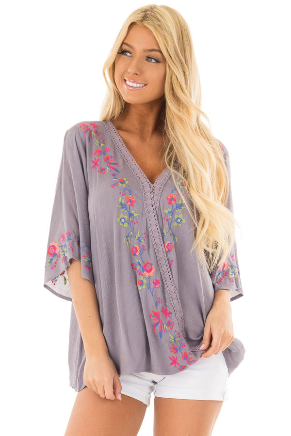 Deep Lavender Surplice Top with Embroidery Detail front close up
