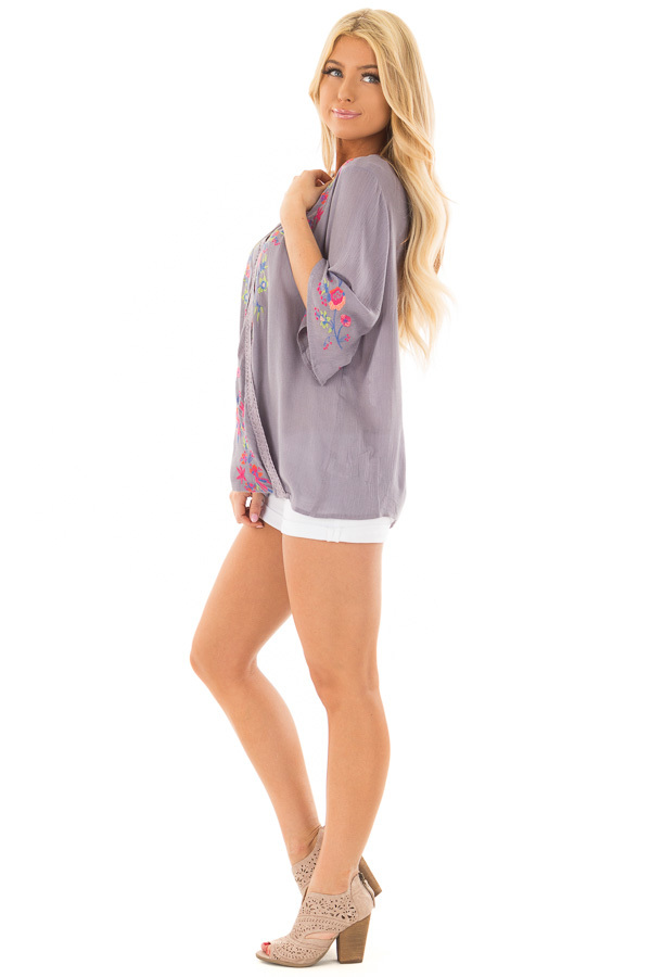 Deep Lavender Surplice Top with Embroidery Detail side full body