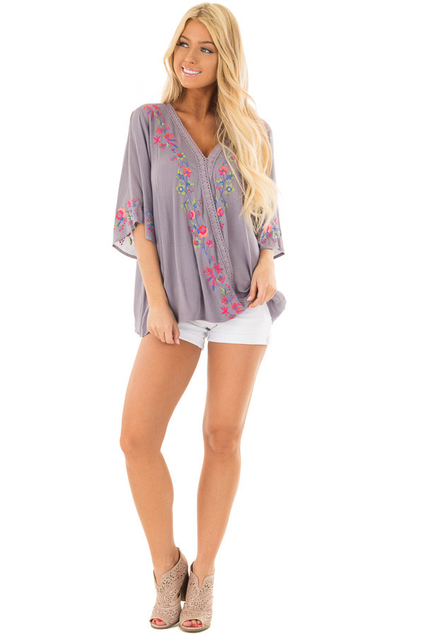Deep Lavender Surplice Top with Embroidery Detail front full body