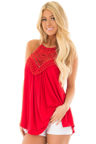 Lipstick Red Tank Top with Sheer Lace Chest front close up