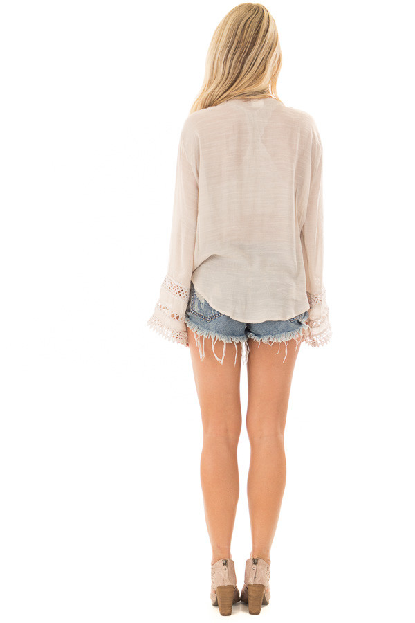 Clay Long Sleeve Surplice Top with Crochet Detail back full body