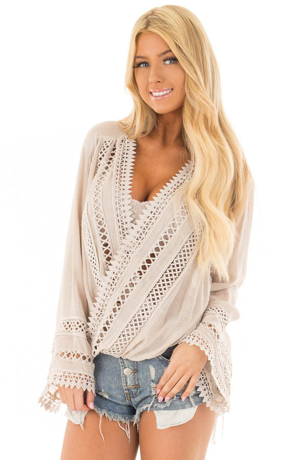 Clay Long Sleeve Surplice Top with Crochet Detail front close up