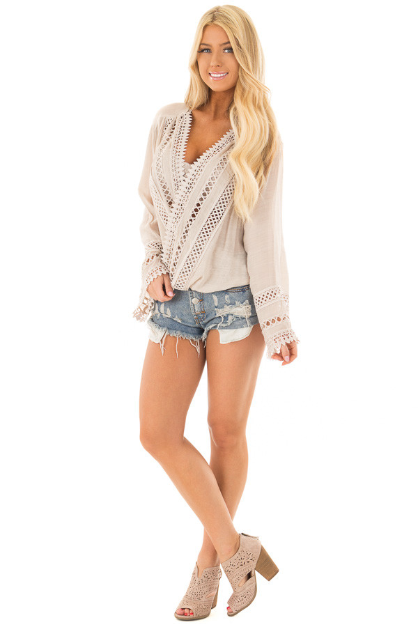 Clay Long Sleeve Surplice Top with Crochet Detail front full body