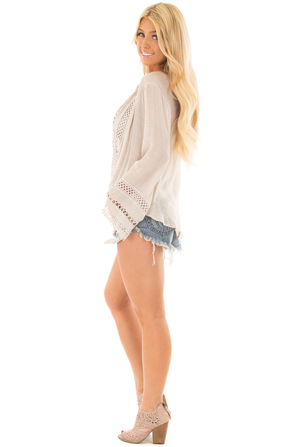 Clay Long Sleeve Surplice Top with Crochet Detail side full body