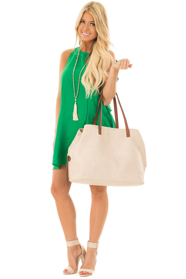 Ivory Tote with Three Large Compartments front full body