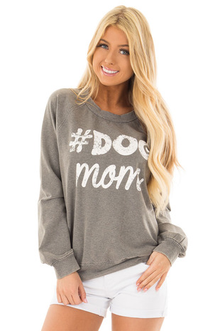 Heather Grey '#DOG MOM' Long Sleeve Sweater front close up