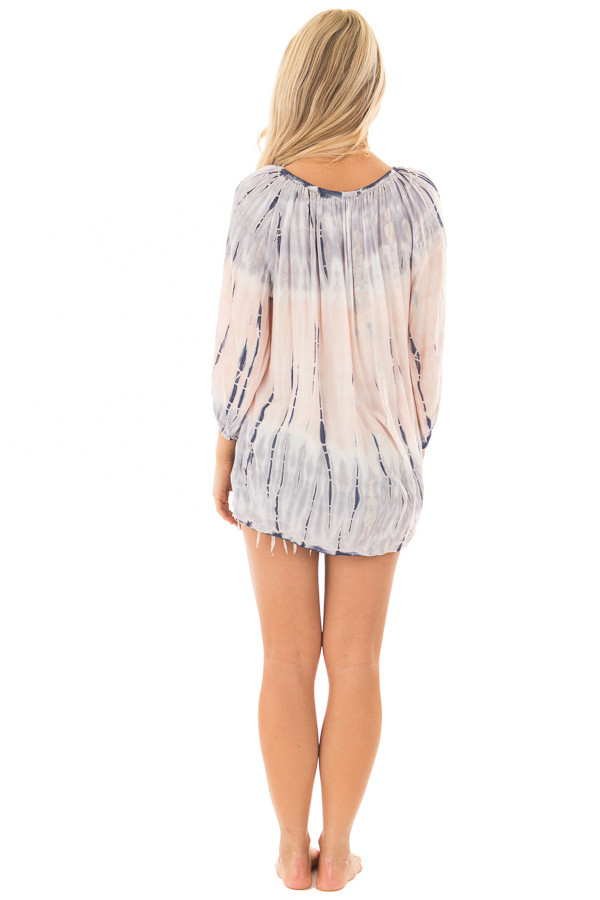 Navy and Peach Tie Dye Top with Front Tie Detail back full body