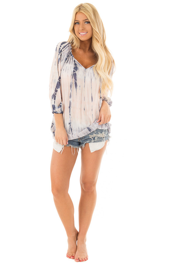 Navy and Peach Tie Dye Top with Front Tie Detail front full body