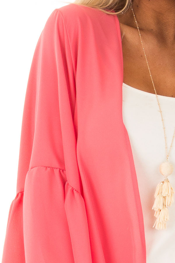 Coral 3/4 Bell Sleeve Cardigan detail