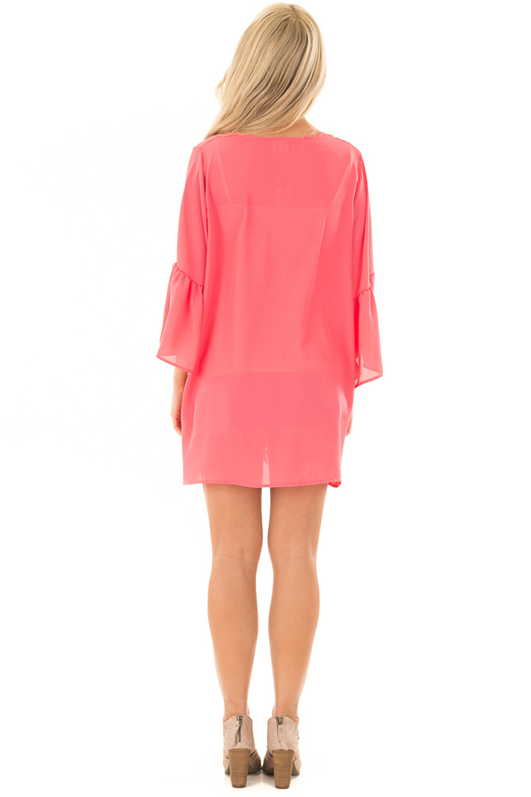 Coral 3/4 Bell Sleeve Cardigan back full body
