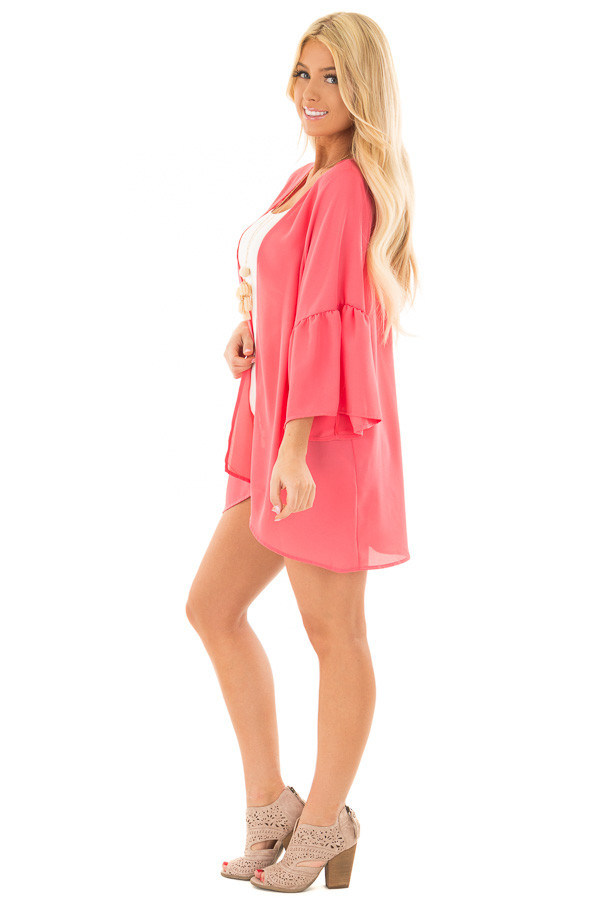 Coral 3/4 Bell Sleeve Cardigan side full body