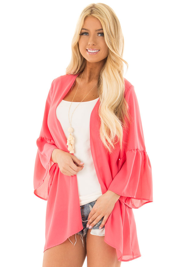 Coral 3/4 Bell Sleeve Cardigan front close up