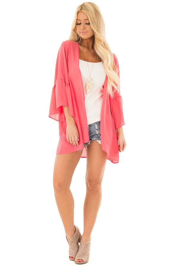 Coral 3/4 Bell Sleeve Cardigan front full body