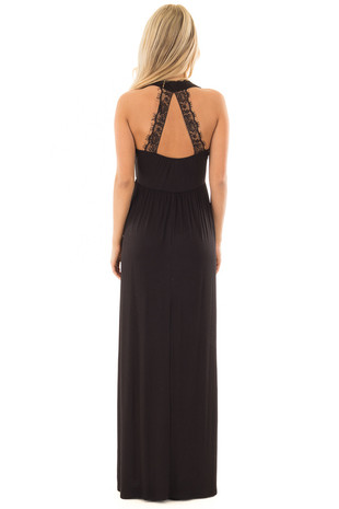 Black Maxi Dress with Sheer Lace Back Detail back full body