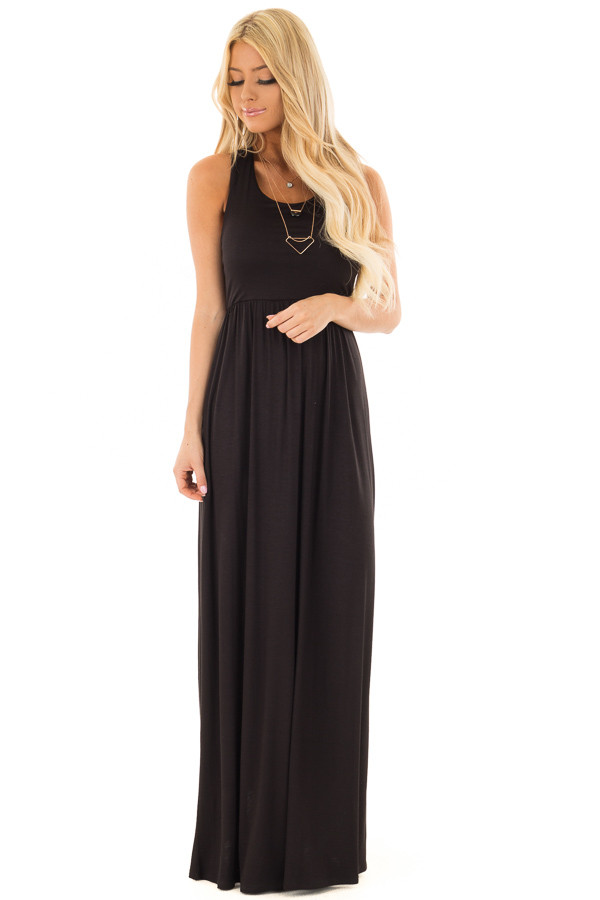 Black Maxi Dress with Sheer Lace Back Detail front full body