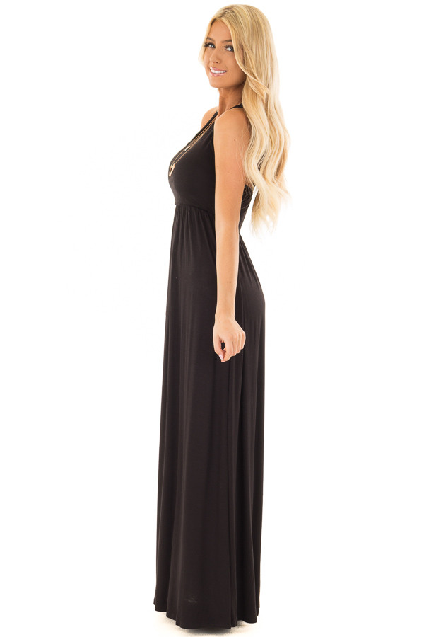 Black Maxi Dress with Sheer Lace Back Detail side full body