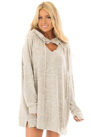 Oatmeal Two Tone Knit Hoodie with Keyhole Detail front close up