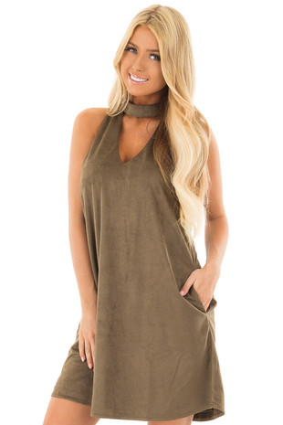 Olive Faux Suede Dress with Cut Out Neckline and Pockets front close up