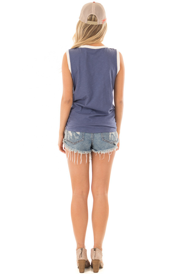 Indigo Blue Tank Top with Front Tie Detail back full body