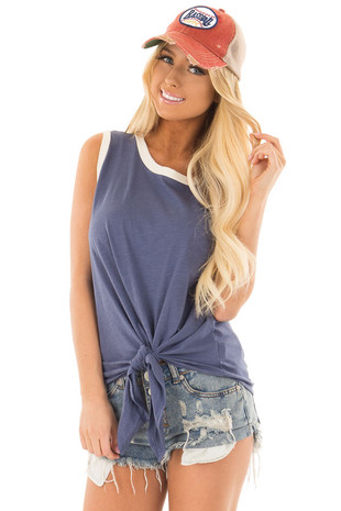 Indigo Blue Tank Top with Front Tie Detail front close up