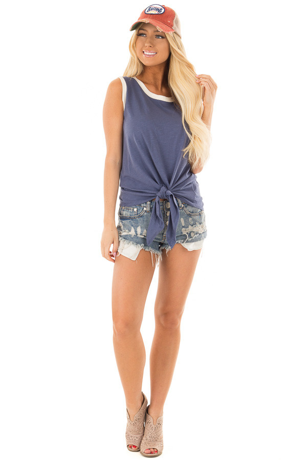 Indigo Blue Tank Top with Front Tie Detail front full body