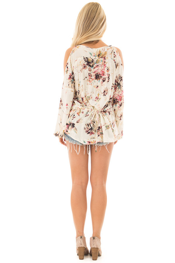 Cream Floral Print Cold Shoulder Top with Front Tie Detail back full body